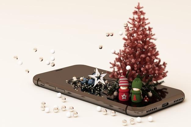 Mobiele telefoon met de kerstboom van kerstmisdecoratie en giften naast het 3d teruggeven