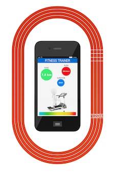 Mobiele telefoon met fitness tracker-applicatie en atletiekbaan op een witte achtergrond