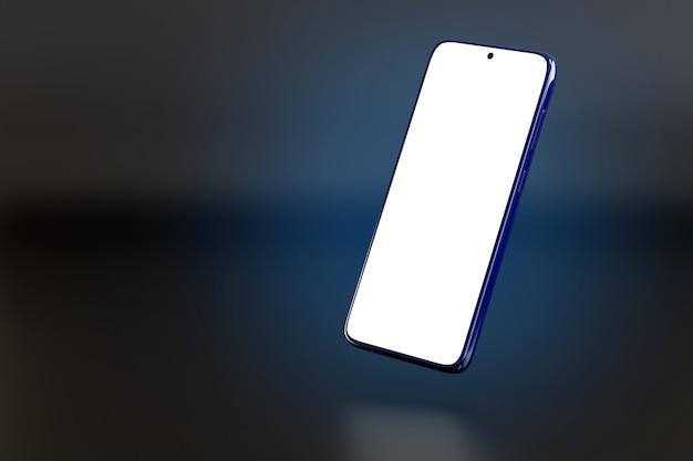 Mobiele telefoon met leeg scherm op donkere achtergrond.
