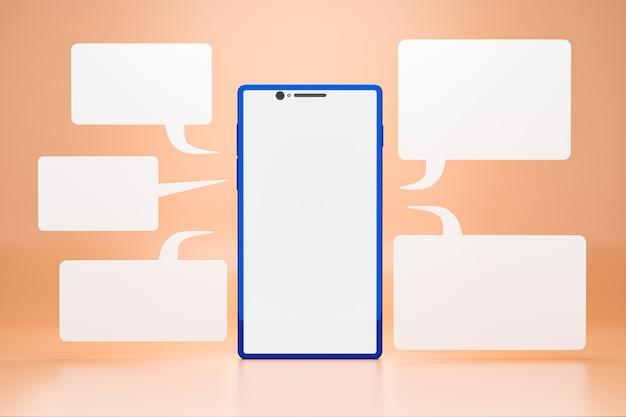 Mobiele telefoon met lege lcd-scherm en chatbox rond een smartphone op oranje achtergrond. realistische 3d-weergave.