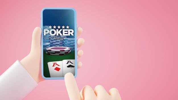 Mobiele telefoon met poker online op scherm 3d-rendering