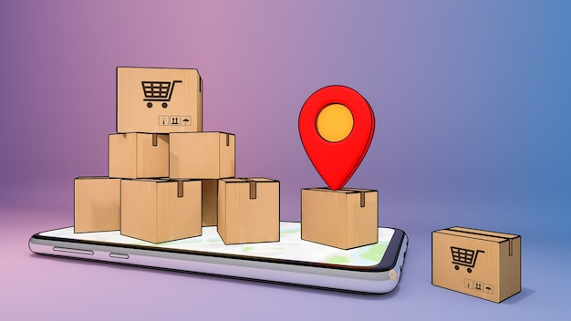 Mobiele telefoon met veel papieren doos en rode pin-aanwijzers., online besteltransportservice voor mobiele applicaties