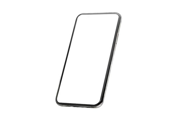 Mobiele telefoon mockup isoleren op een witte muur met een leeg scherm. frame voor mobiele telefoon.