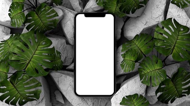 Mobiele telefoon op een rotsachtige ondergrond