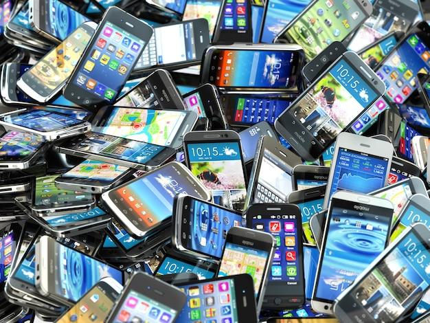 Mobiele telefoons achtergrond. stapel verschillende moderne smartphones. 3d