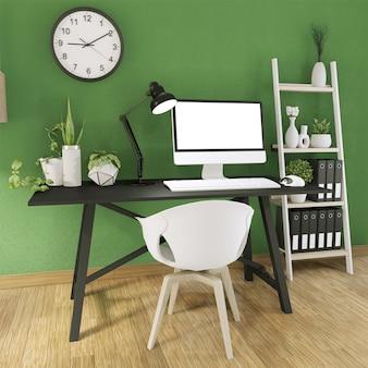 Mock up computer met leeg scherm en decoratie in office groene kamer mock up achtergrond. 3d-rendering