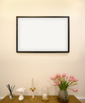 Mock-up frame op de achtergrond van het interieur van de woonkamerxa