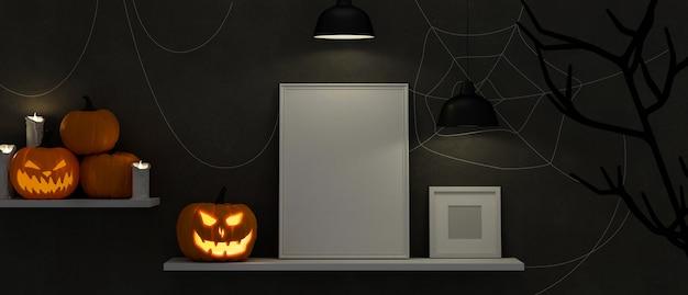 Mock-up frames op de plank versierd met enge spullen in halloween concept, 3d-rendering, 3d illustratie