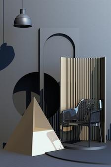 Mock up grijze en gouden textuur abstracte studio mode minimale geometrische vorm trend met grijze fauteuil op podium platform. 3d-rendering