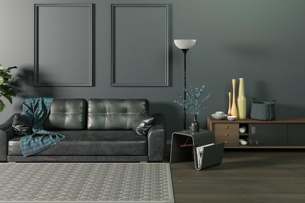Mock up interieur van de woonkamer in zwart-wit donkere muur