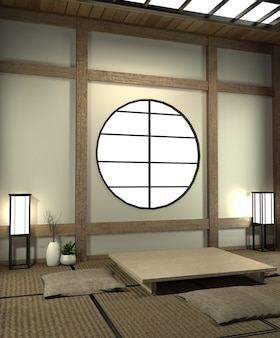 Mock-up japan kamer met tatami mat vloer en decoratie japanse stijl werd ontworpen in japanse stijl.