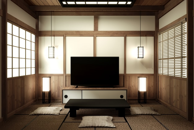 Mock up japanese living zen design. 3d-rendering