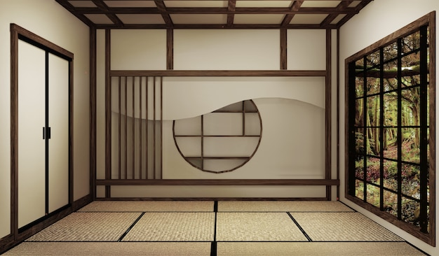 Mock up, japanse lege kamer tatami mat ontwerpen van de mooiste. 3d-rendering