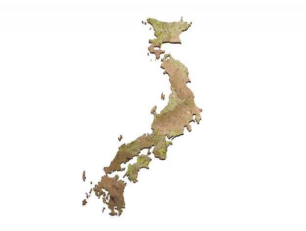 Mock up kaart japan 3d-kaart realistisch.
