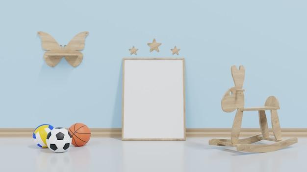 Mock up kinderkamer is omgeven door een muur, voetbal en banken aan de zijkant.