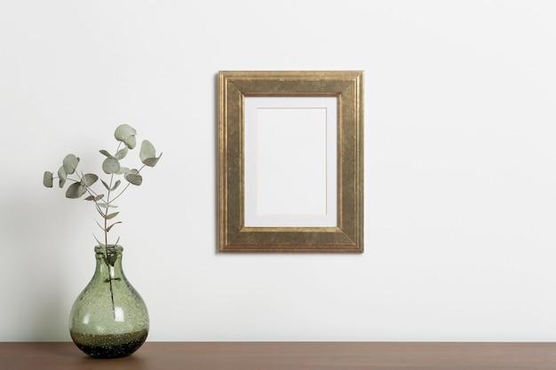 Mock up leeg frame achtergrond leeg decoratief frame voor een foto of schilderij