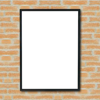 Mock up lege poster foto frame op bakstenen muur.