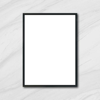 Mock up lege poster fotolijst hangend op witte marmeren muur in de kamer - kan worden gebruikt mockup voor montage producten display en design sleutel visuele lay-out.