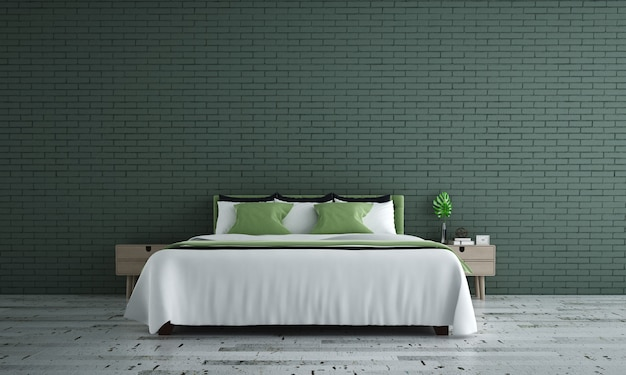 Mock-up meubeldecor in modern slaapkamerinterieur in loftstijl en bakstenen muurachtergrond