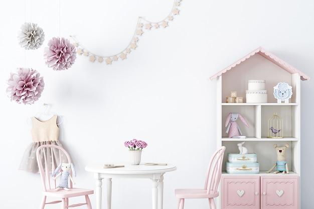 Mock-up muur in een kinderfeestkamer voor een meisje