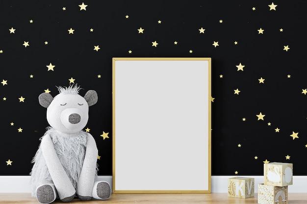 Mock up poster frame in kinderen decorkids kamer kwekerij mockup zwarte muur3d-rendering