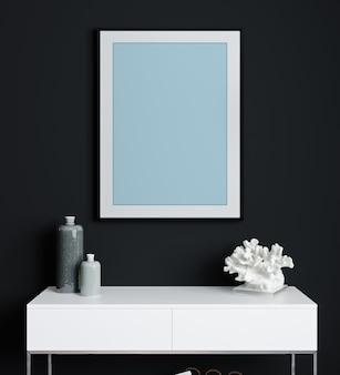 Mock up poster frame in woonkamer interieur. donker interieur in scandinavische stijl. 3d-rendering, 3d-afbeelding