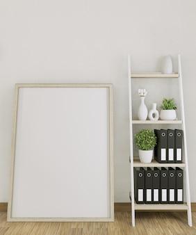 Mock up poster frame kantoor met decoratie op kamer mock up design. 3d-rendering
