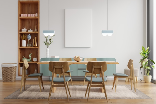 Mock up poster in het interieur van de moderne eetkamer met witte lege muur