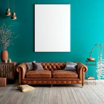 Mock up poster in klassieke woonkamer.