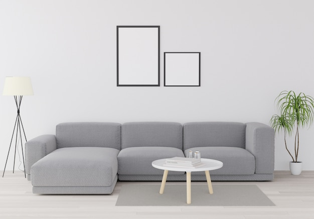 Mock up poster minimalism loft interieur achtergrond, houten