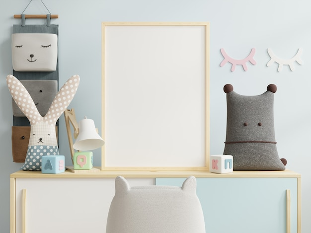 Mock-up posterframe in de kinderkamer en er is een blauwe muur achter, 3d-rendering