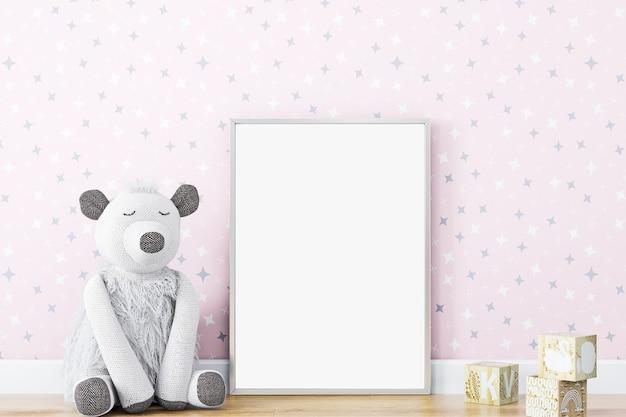 Mock up posterframe in kinderdecorkids kamer kwekerij mockuproze muur3d-rendering