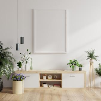 Mock up posterframe op kast in interieur.