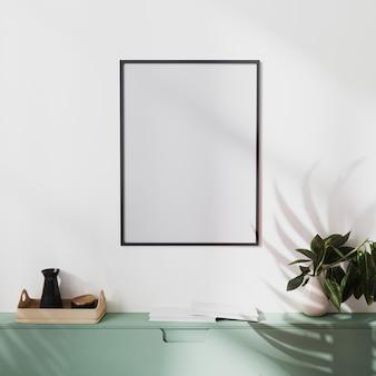 Mock-up posterframe op witte muur met palmschaduw en groene kasten met decoratie, 3d illustratie