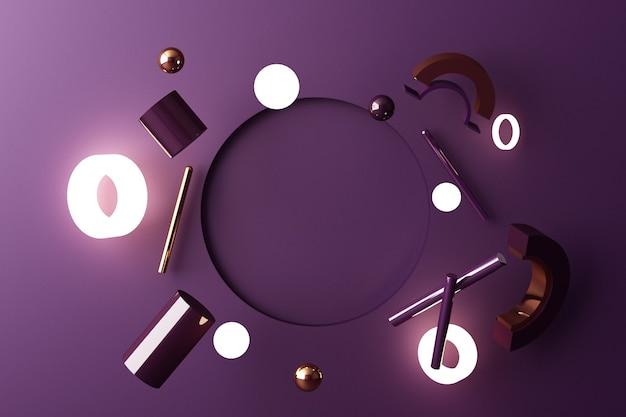 Mock-up samenstelling van geometrische vorm goud en glas textuur met paarse kleur podium voor product