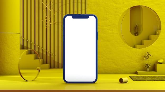 Mock-up smartphone op een gele achtergrond, ontwerp voor reclame