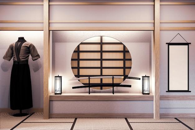 Mock up, specifiek ontworpen in japanse stijl, lege ruimte. 3d-weergave