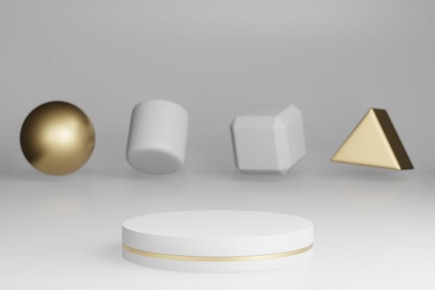 Mock up studio met marmeren cilindrische vormen, podium, platforms voor productpresentatie, met gouden objectdecoratie op grijze achtergrond. 3d-weergave