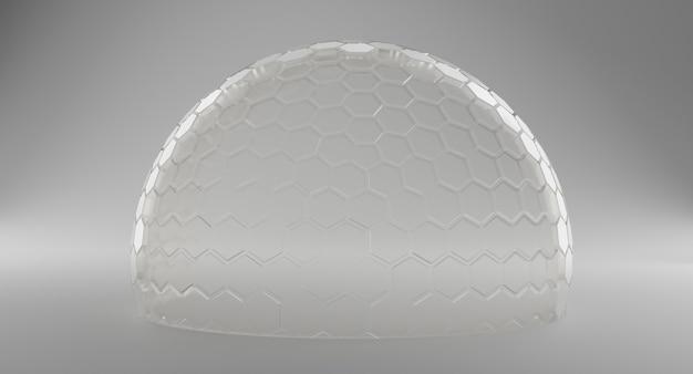 Mock-up transparant glazen koepelbeschermingsconcept