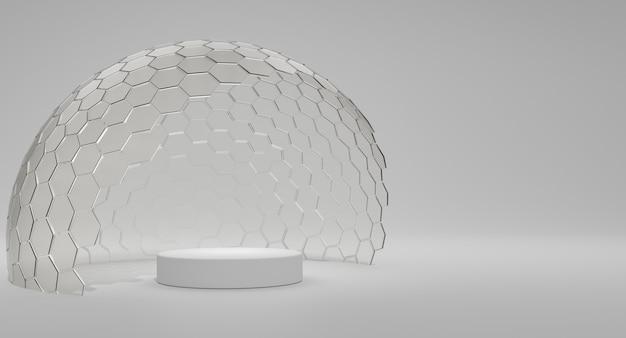Mock-up transparante glazen stolp. koepeldeksel voor podium