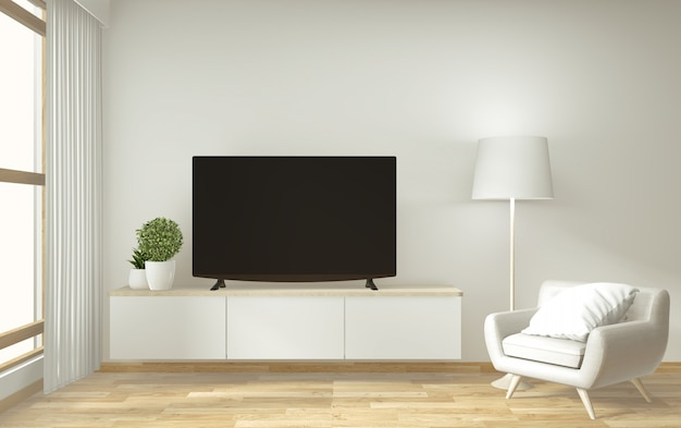 Mock-up tv-meubel en display met kamer minimalistisch design en decoratie japanse stijl