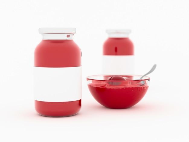Mock up van jam in glazen pot