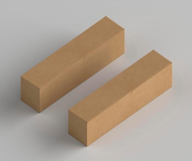 Mock-up van kartonnen dozen in isometrische stijl