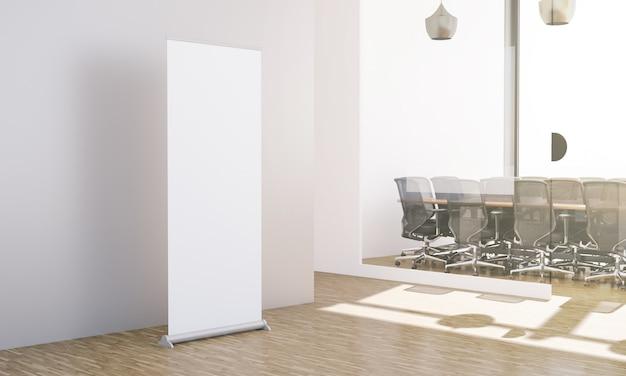 Mock up van lege oprollen op kantoor werkplek