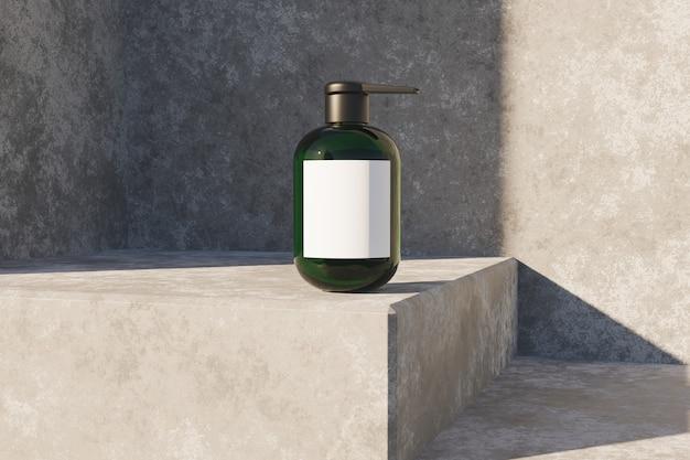 Mock-up van transparant cosmetisch blikje op betonnen hoek met zonlichtverlichting. 3d-weergave