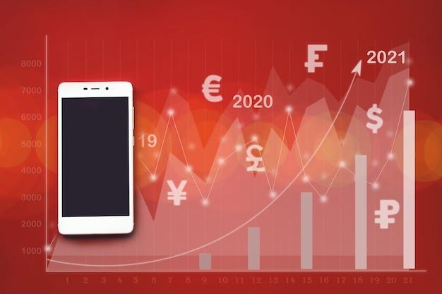 Mockup afbeelding van witte mobiele telefoon op rode achtergrond met virtuele hologram stat grafiek valuta
