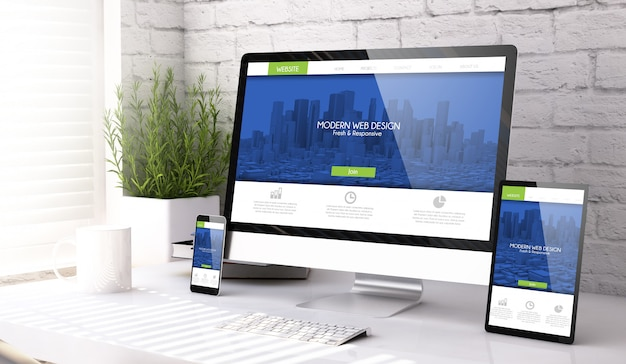 Mockup-apparaten moderne responsieve website
