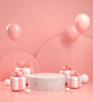 Mockup display geschenkdoos en roze vieren concept abstracte achtergrond 3d render