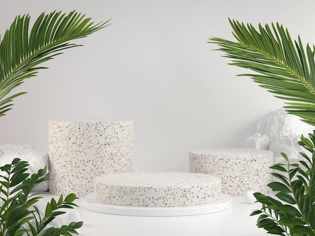 Mockup display set met groene tropische natuurlijke concept scène abstracte achtergrond 3d render