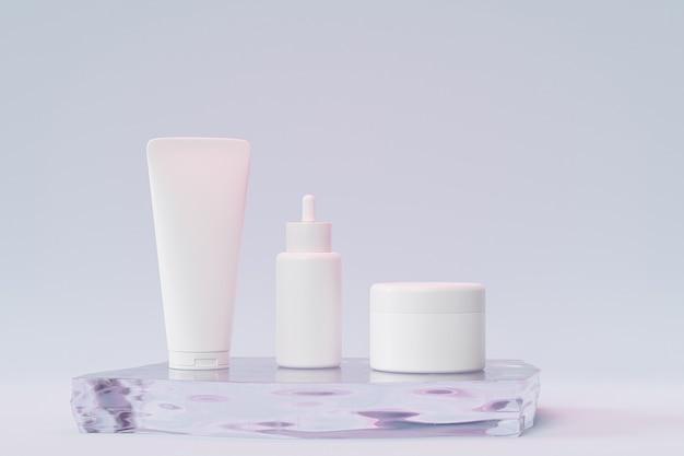 Mockup druppelflesje, lotionbuis en zalfpotje voor cosmetica of reclame op glazen podium, 3d illustratie render